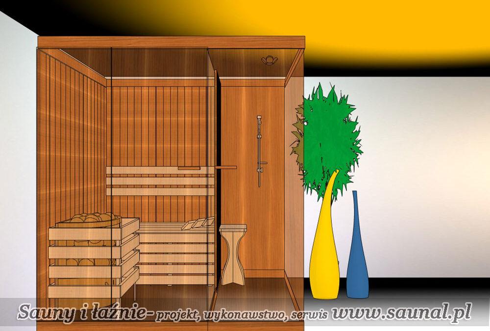 Sauna fińska – projekt. Sauna obok prysznica.